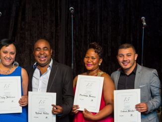 Pictured at the 2015 Staff Awards celebrations are General Manager Mervyn Naidoo, with 15 year recipients, Nazley Abrahams of Goodwood, Raphael Pelston who recently joined Sun City, Thandekile Somana of Highbury and Tashian Schute of Hillview, along with the Slots Manager, Norman Ristow. The recipients are all members of the VIP department.