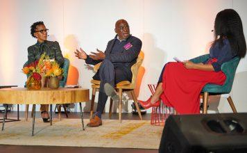 Panelists Zoe Molapisi, Kwakye onkor and moderator Thami Nkadimeng.